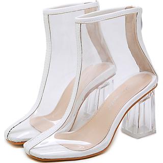 Boot nữ trong suốt cao 8cm viền trắng xinh xắn GBN61