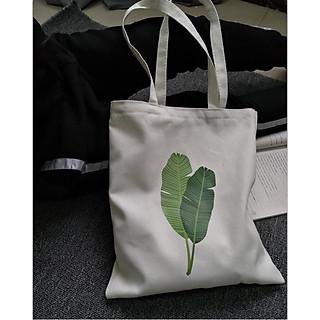 Túi xách vải Canvas họa tiết CHIẾC LÁ đeo vai thời trang cho nữ