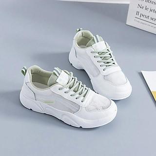 Giày Sneakers Nữ Đế Mềm Họa Tiết Xanh DONSUPER