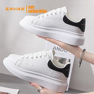 Giày thể thao nữ giày sneaker nữ màu trắng đế 3cm bằng da màu trắng hiệu ZAVAS - S366 - Hàng chính hãng