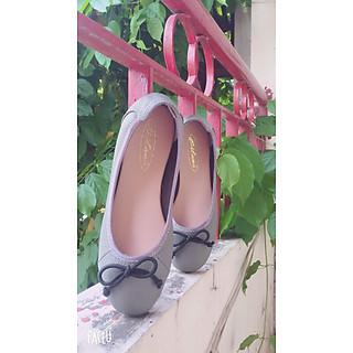Giày bệt cổ thun mũi tròn thời trang đính nơ