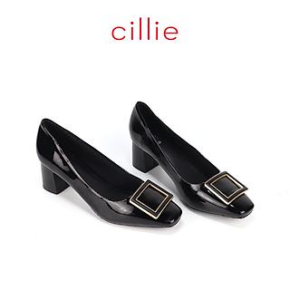 Giày cao gót nữ mũi vuông phối khóa da bóng 6cm Cillie 1209