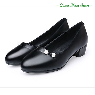Giày búp bê nữ công sở đính nơ hạt ngọc cao cấp gót vuông 4 phân mũi nhọn da mềm hàng VNXK màu đen đế cao su đúc siêu mềm tôn dáng lót êm ái size 36 đến 40 - Cam kết hàng chất lượng -  Đính hạt ngọc
