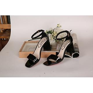 Giày sandals nữ cao 7cmt bít gót quai ngang 8334 đen