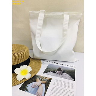 Túi vải TOTE, Canvas đeo Hàn Quốc trắng trơn (có khóa kèm túi con) GADY shop