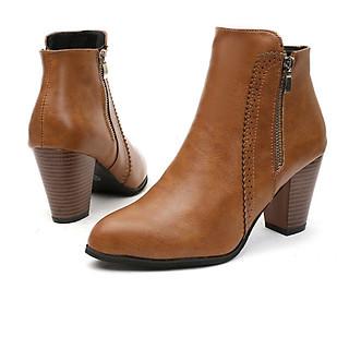 Giày bốt nữ, boot đế vuông 7 phân da trơn viền lazer 2 dây kéo S047