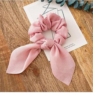 Dây buộc tóc vải lụa Scrunchies Vintage sang chảnh chất lụa mềm HD52