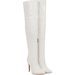 Boot đùi da bóng màu trắng gót nhọn thanh dáng GCC2902