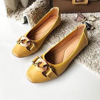Giày búp bê nữ Thái Lan đế bằng đính nơ khóa Emerald thời trang, nhẹ mềm êm chân dễ dàng di chuyển và phối đồ - màu vàng cam