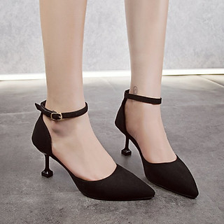 Giày Cao Gót Nữ Đi Tiệc  Đẹp  Màu Đen Gót Nhọn 7 Phân Phong Cách Hàn Quốc.