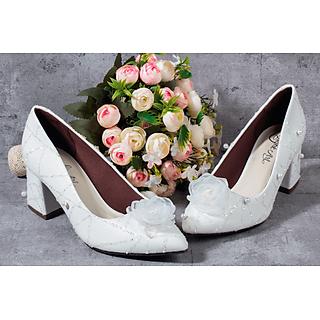 Giày cưới nữ Nghé Art gót vuông trắng ngọc trai 184