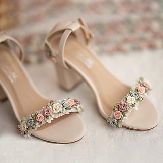 Giày cưới Nghé Art sandal hoa hồng 301