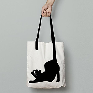 Túi Vải Tote, Túi Vải Canvas Cao Cấp, Chất Liệu Cotton Dày Dặn, Túi Tote Nữ In Hình Boss Cat, Túi Thời Trang Nữ Phong Cách Basic, Túi Vải Trắng In Hình Mèo Đuôi Dài Độc, Lạ, Phiên Bản Giới Hạn