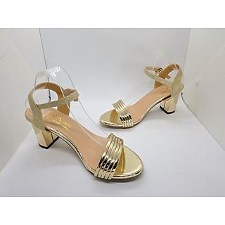 Giày cao gót nữ/ Sandal Cao Gót Nữ Màu Vàng Đẹp Hở Mũi Da Bóng  Xen Kẽ Quai Cài Ngang Đẹp Phong Cách Hàn Quốc 7 Cm, 7 Phân Đế Cao Vuông Cao Cấp  CGPN095-YN121