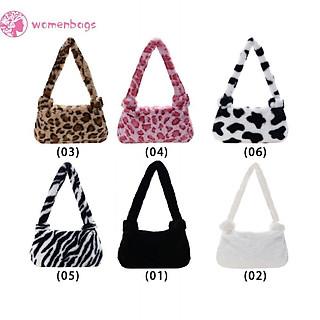 Túi đeo dưới cánh tay chất liệu lông nhung họa tiết da động vật phong cách cổ điển cho nữ