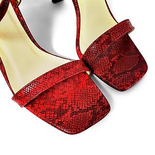 Giày Sandal Gót Nhọn Da Rắn Sulily SG1-IV20DO màu đỏ