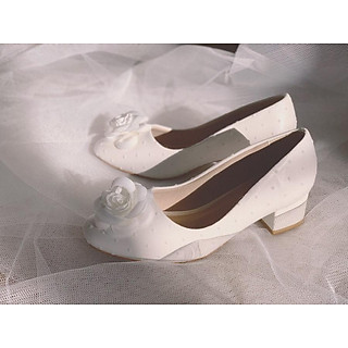 Giày cưới nữ Nghé Art gót vuông thấp 197