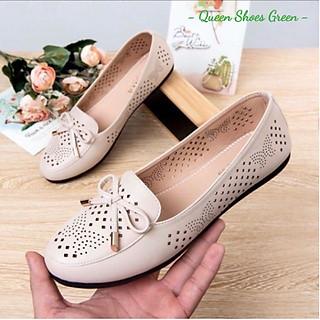 Giày lười nữ - giày búp bê. giày bệt nữ da mềm cắt lỗ Laze hoa văn cao cấp, đế cao su đúc siêu mềm size 35 đến 39