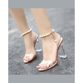 Giày Cao Gót Nữ Gót Vuông Trong Suốt 7cm