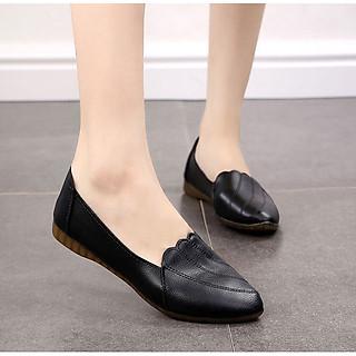 Giày lười nữ da mềm đế cao 2p