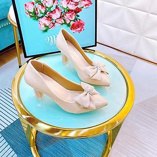 Giày cao gót nữ đính nơ da bóng, gót nhọn cao 5p, giày búp bê mũi nhọn form chuẩn màu kem