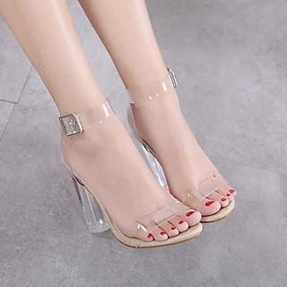 Giày / Sandal Cao Gót Nữ Đế Vuông Trong Suốt GN 19