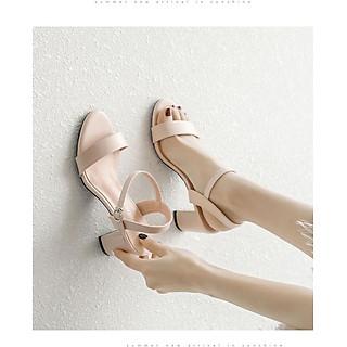 Giày cao gót nữ 7 phân đế vuông quai ngang bền đẹp kiểu cổ điển