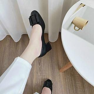Giày da nữ công sở, gót vuông 5p, nơ da đơn giản T120