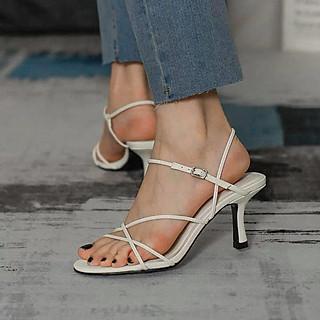 Giày sandal nữ quai mảnh đan chéo gót nhọn dáng loe 7p thanh lịch