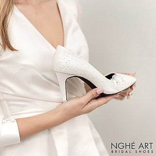 Giày cưới Nghé Art handmade kim tuyến đính hoa voan 266