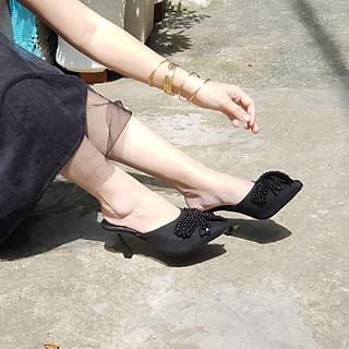 Giày Sục cao gót nữ gót nhọn 7cm cao cấp, mũi nhọn, đính nơ sang trọng, mang êm chân - SụcCaoGót7p