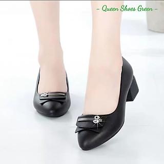 Giày búp bê nữ đính nơ cao cấp, giày trung niên nữ gót vuông 4 phân mũi nhọn da mềm hàng VNXK màu đen đế cao su đúc siêu mềm tôn dáng lót êm ái size 36 đến 40 - Cam kết hàng chất lượng - Nơ cài 4 phân