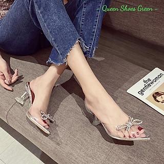 Giày cao gót nữ quai trong - Dép, guốc cao gót 9 phân hở mũi, đính nơ cánh bướm gắn đá kim cương size 35 đến 39