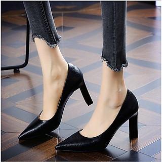 Giày cao gót nữ gót trụ vuông bít mũi thanh lịch - Giày nữ gót cao 9cm - LInus LN298DK