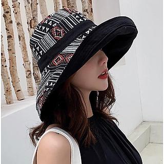 Nón Mũ nữ rộng vành gấp gọn đội 2 mặt chống nắng phối mầu thổ cẩm thời trang Hàn Quốc MRV01