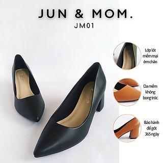 Giày cao gót Jun&Mom gót cao 5cm mũi nhọn phối dây hở gót cao 5cm_JM01