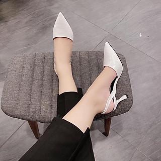 Giày cao gót hở gót, mũi nhọn quai đính đá G130