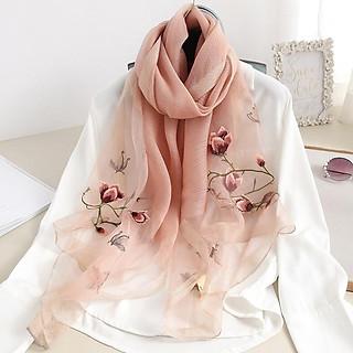 khăn thêu hoa mộc lan hồng (LTKT011)