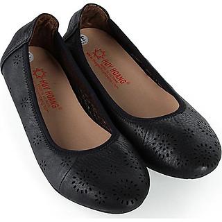 Giày nữ hoa văn Huy Hoàng da bò màu đen HT7948