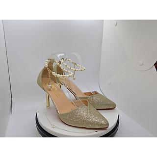 Giày Nữ, Giày Cao Gót Nữ/ Sandal Cao Gót Nữ  Màu Vàng Ánh Kim Sang Trọng Bít Mũi Đắp Chéo Gót Nhọn Cao 9 Phân, 9 Cm Thời Trang Nữ Phong Cách Hàn Quốc CGPN0105-YN135.