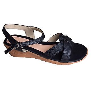 Giày sandal nữ đê xuồng 5cm da bò thật màu đen Trường Hải SDNTH0113