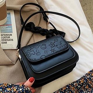 Túi Đeo Chéo Mini ️Freeship ️ Túi Đeo Chéo Nữ Họa Tiết Chất Da Đẹp Nhiều Ngăn Size 18