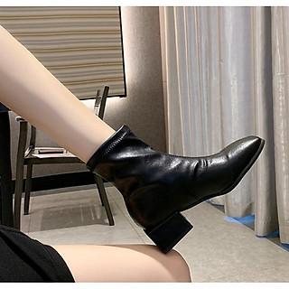 Giày Bốt Nữ Cổ Lửng Da Mềm Mã H88