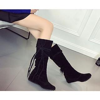 Bốt nữ cổ cao qua bắp cá chân da lộn trang trí dây tết màu đen đế độn 3cm C12