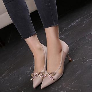 Giày cao gót nữ bít mũi đính nơ đá eo phối lưới - Giày nữ gót cao 7cm - Giày da nhung mềm 2 màu Đen và Kem - Linus LN288
