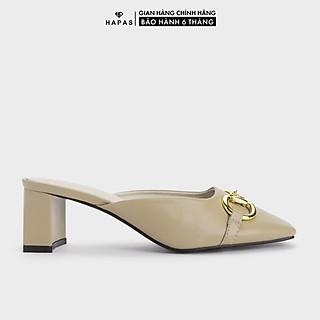 Giày Cao Gót Đế Vuông Khoá Vàng Hở Gót 5Phân - CG5559