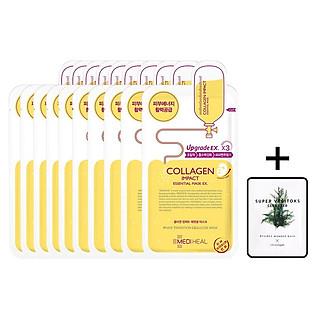 Hộp 10 Mặt nạ dưỡng săn chắc da ngăn ngừa lão hóa da Mediheal Collagen Impact Essential Mask Ex 25ml x10 + Tặng 1 gói sữa rửa mặt thải độc Super Vegitoks Cleanser 3ml