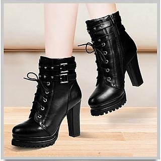 Giày boot nữ gót trụ phong cách Hàn Quốc cao 11cm B152
