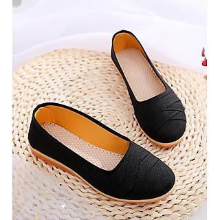 Giày búp bê vải caro đế bằng 2cm đi bộ cực êm chân V189