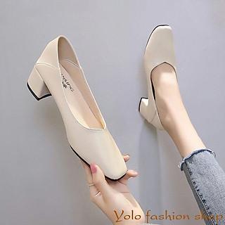 Giày cao gót nữ da mềm gót vuông dẫm gót 5cm hàng Quảng Châu cao cấp-CC07